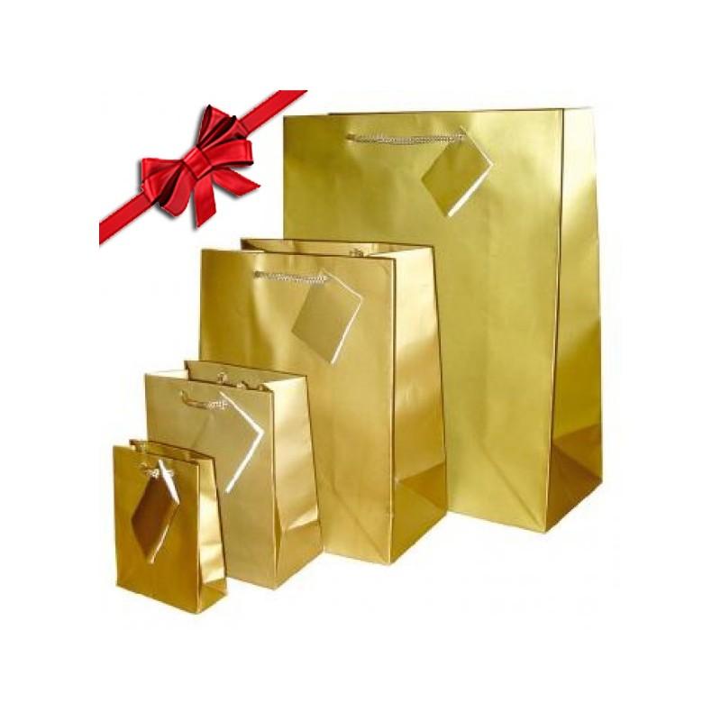 Sacchetto di carta, con manico in corda Luxe d'Oro